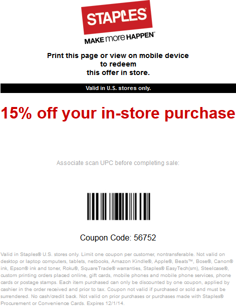 Staples Coupon November 2018 15% off at Staples