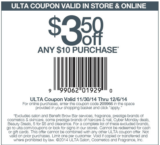 Ulta Coupon June 2018 $3 off $10 at Ulta, or online via promo code 209966