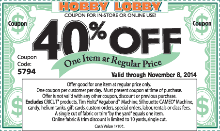 Hobby Lobby Coupon April 2019 40% off a single item at Hobby Lobby, or online via promo code 5794