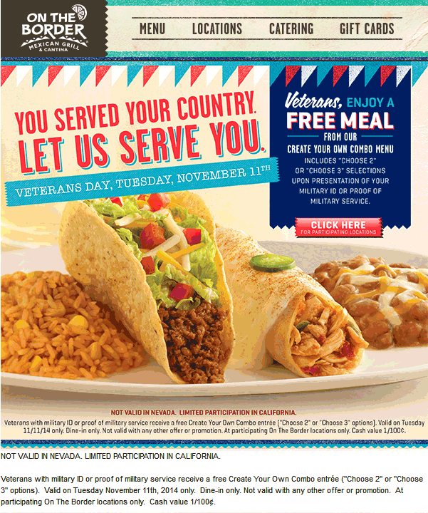 On The Border Coupon October 2016 Combo meal free for Veterans the 11th at On The Border